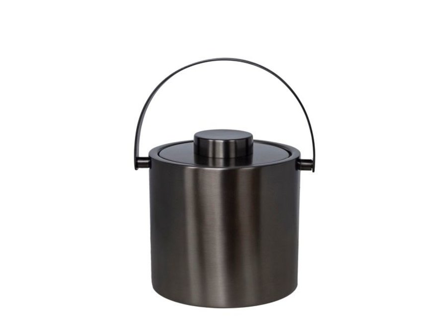 Modern ice bucket in anthracite metal