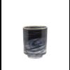Dome Deco Glass tea light 'Alabaster' black glass with gold rim
