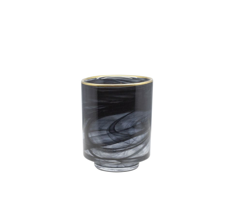 Glass tea light 'Alabaster' black glass with gold rim