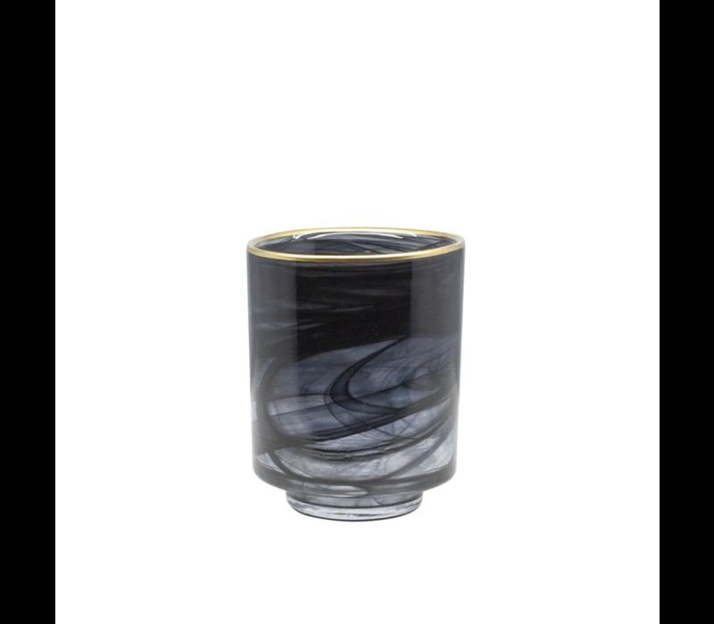 Glazen theelicht 'Alabaster' zwart glas met gouden rand