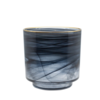 Dome Deco Glass tealight 'Alabaster' black glass with gold rim