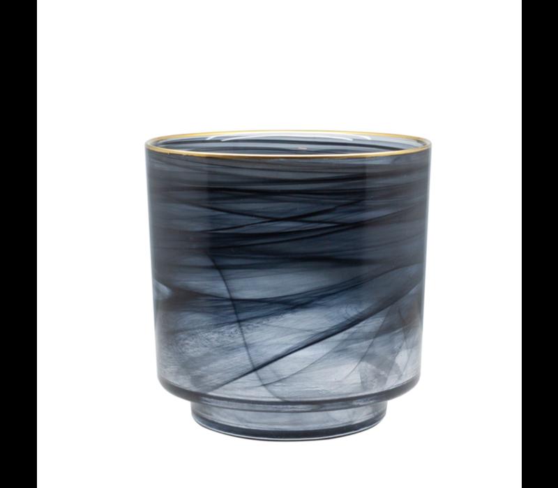 Glass tealight 'Alabaster' black glass with gold rim