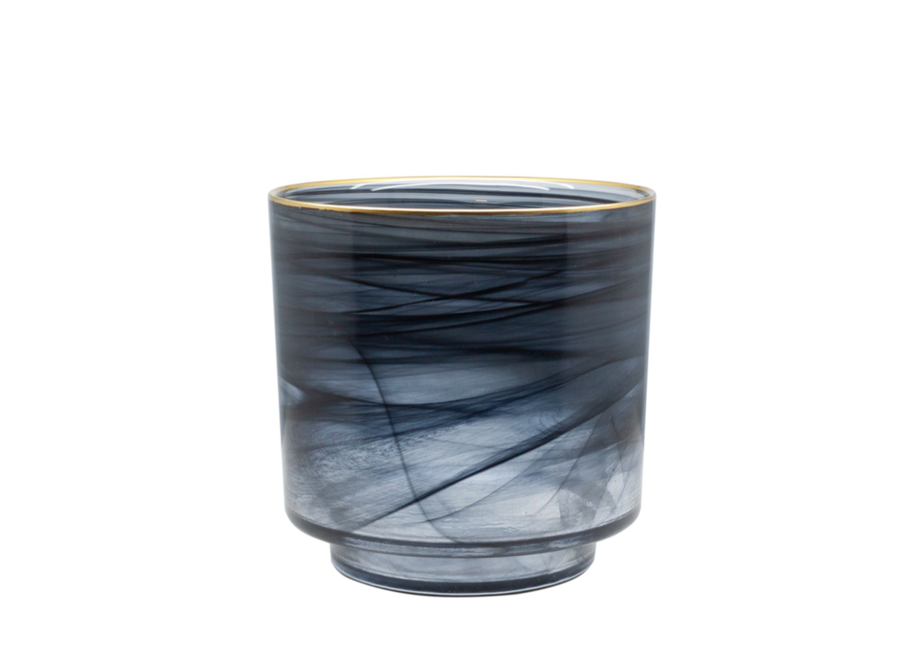 Glazen theelicht 'Alabaster' zwart glas met gouden rand 15cm hoog
