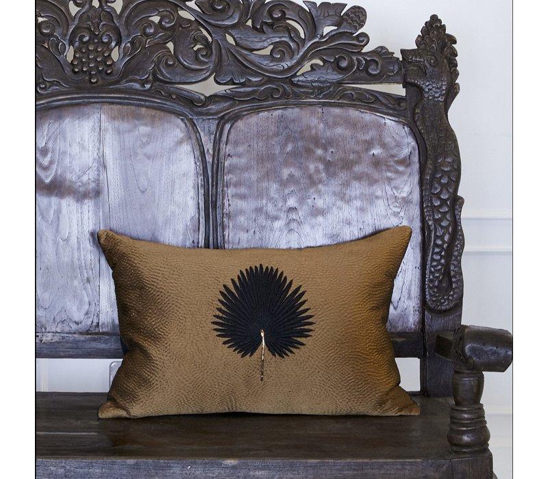 Throw pillow Kava Black Fan Palm
