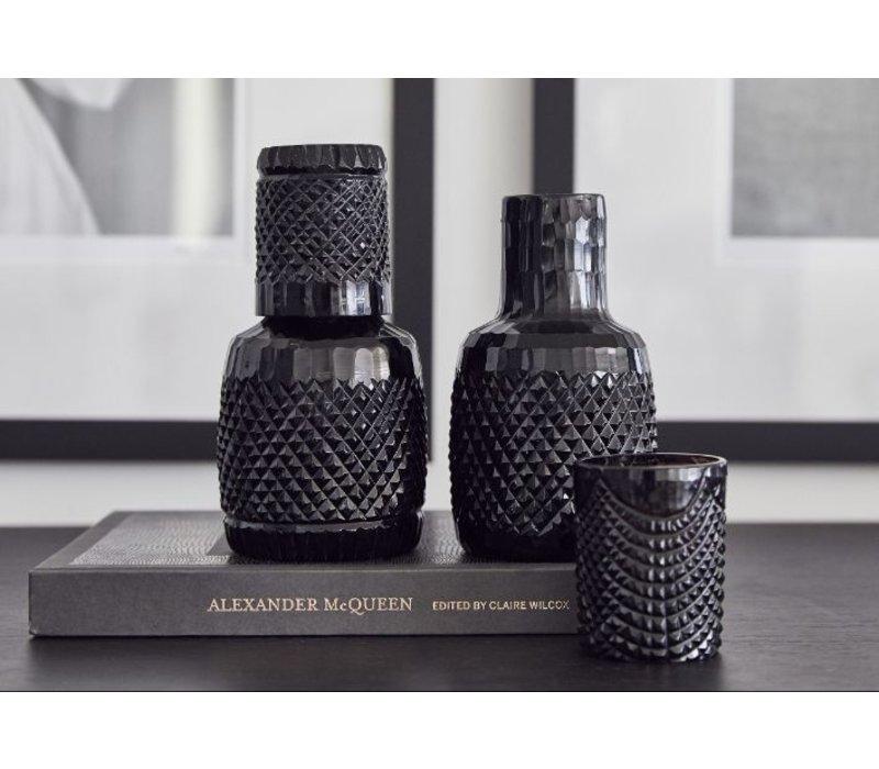 Glazen Waterkaraf + beker 'Kaawi' Black