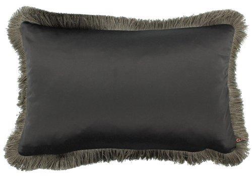 CLAUDI Cushion Sorella Dark Taupe + Fringe Taupe