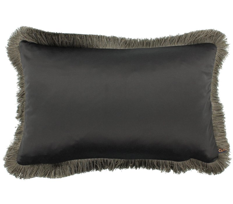 Throw pillow Sorella Dark Taupe + Fringe Taupe