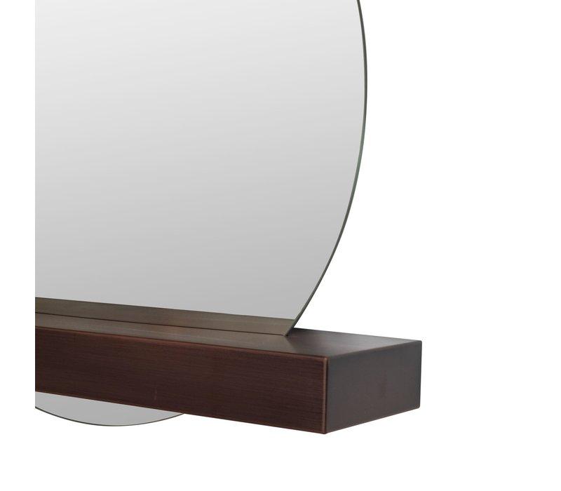 Round mirror with bronze shelf