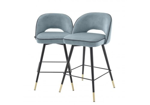 EICHHOLTZ Counter Stool Cliff 2er Set - Savona blue