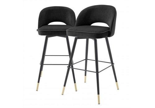 EICHHOLTZ Bar stoel Cliff set van 2 - Roche black