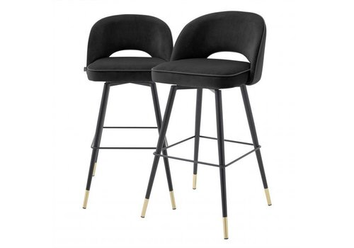 EICHHOLTZ Bar stool Cliff set of 2 - Roche black