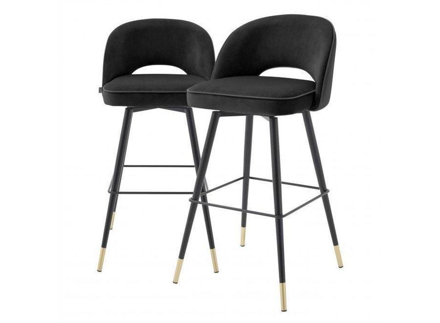 Bar stoel 'Cliff' set van 2 - Roche black