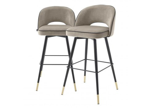 EICHHOLTZ Bar stoel Cliff set van 2 - Savona greige