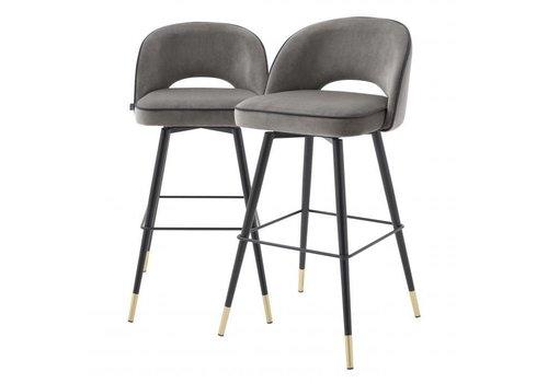 EICHHOLTZ Bar stoel Cliff set van 2 - Savona grey