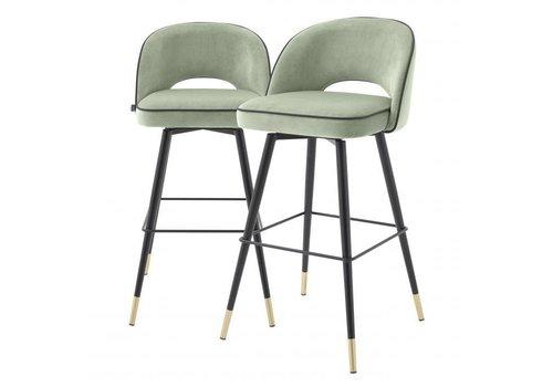 EICHHOLTZ Bar stoel Cliff set van 2 - Savona pistache green