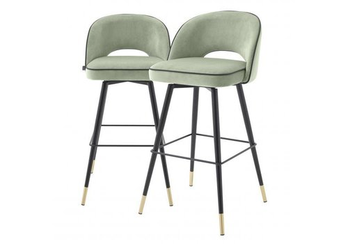 EICHHOLTZ Bar stool Cliff set of 2 - Savona pistache green