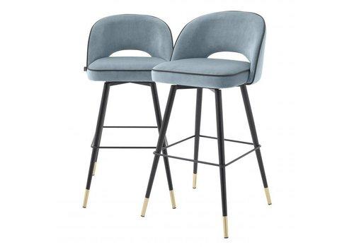 EICHHOLTZ Bar stool Cliff set of 2 - Savona blue