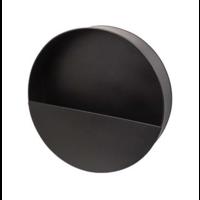 Wandpflanzgefäß aus schwarzem Metall - rund - S.
