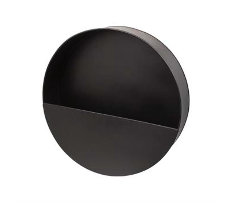 Wandpflanzgefäß aus schwarzem Metall - rund - M.