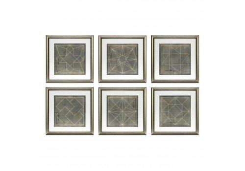 EICHHOLTZ Prints Geometric Blueprints set van 6