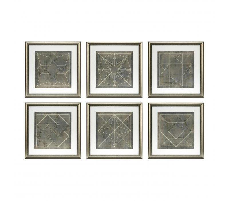 Prints 'Geometric Blueprints' set van 6