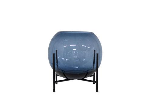 Dome Deco Windlicht/Vaas op zwarte standaard - S - Blue