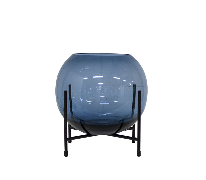 Wind light / Vase on black standard - S - Blue
