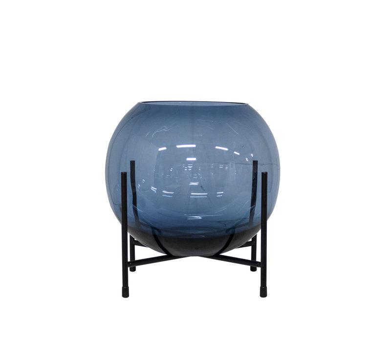 Windlicht / Vase auf schwarzem Standard - S - Blau