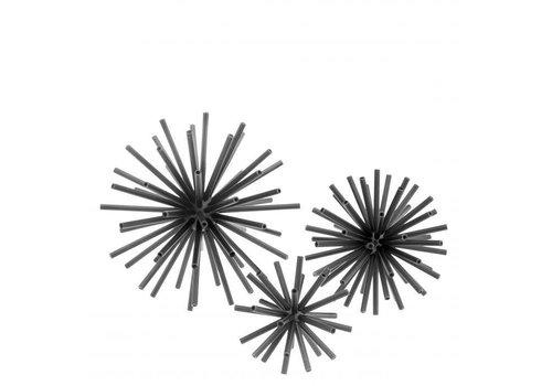 EICHHOLTZ Dekorationsobjekt 'Meteor' 3er-Set - Black