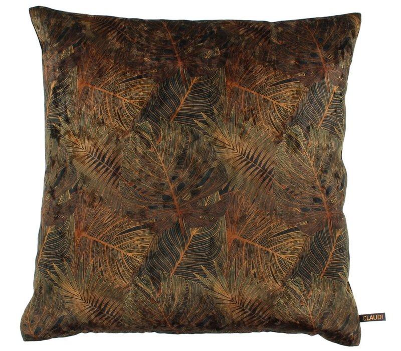 Cushion Dashing Leaves Ice Black + Rust