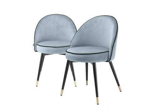 EICHHOLTZ Dining chair Cooper set of 2 - Blue