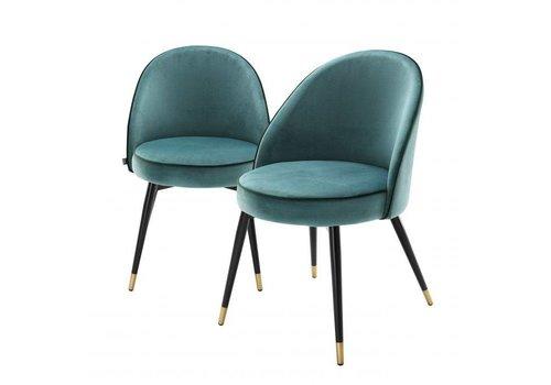 EICHHOLTZ Eetkamerstoel Cooper set van 2 - Turquoise