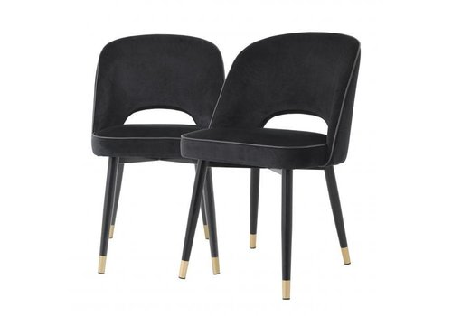 EICHHOLTZ Dining chair Cliff set of 2 - Roche black