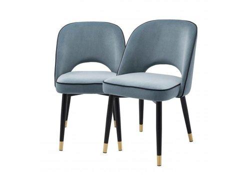 EICHHOLTZ Dining chair Cliff set of 2 - Savona blue