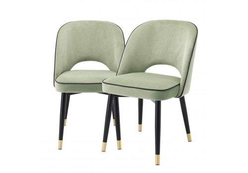 EICHHOLTZ Dining chair Cliff set of 2 - Savona pistache green