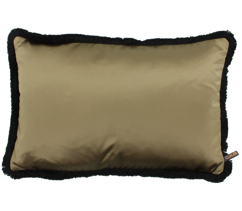 Throw pillow Dark Gold (922)+ Fringe Small Black