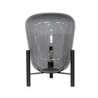 Tischlampe 'Glas mit Metallsockel'