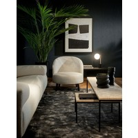 Coffee table 'Moma' with black frame and travertine top - L40 x W55 x H28 cm