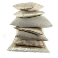 Throw pillow Dafne color Dark Sand + Piping Gold