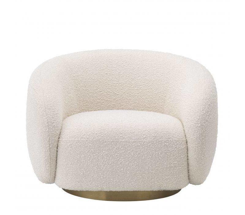 Swivel armchair 'Brice' - Bouclé cream