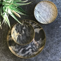Tray 'Orbit' smoked Marble - Small