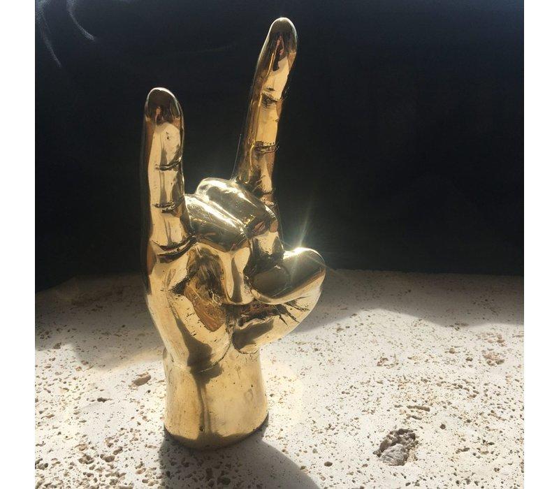 Brass hand 'Rock on'