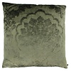 CLAUDI Throw pillow Caith Olive front and back made of the same fabric