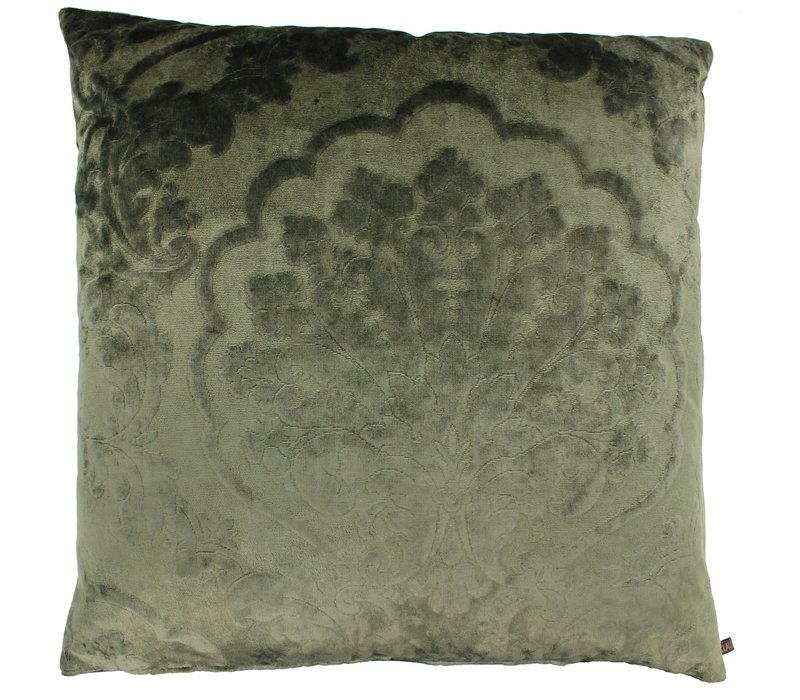 Throw pillow Caith Olive front and back made of the same fabric