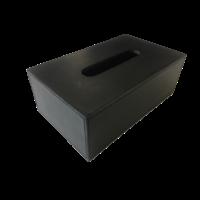 Tissue box rechthoekig in zwart leer