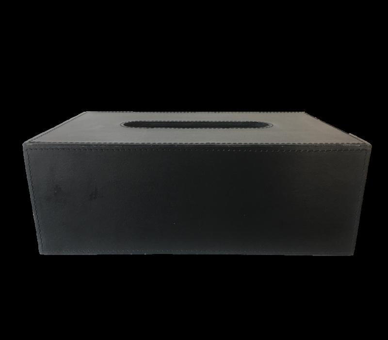 Gewebebox rechteckig aus schwarzem Leder