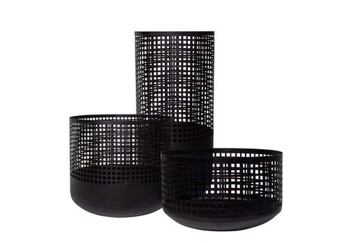 Dome Deco Baskets Metal black Set of 3