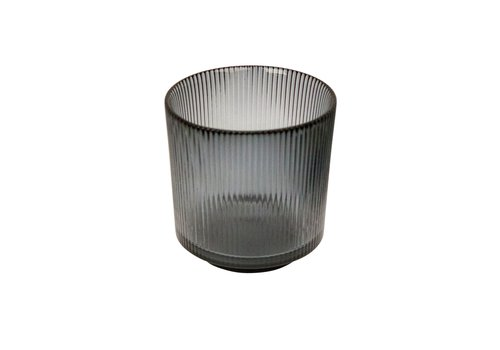 Dome Deco Kerzenhalter Glass  'Lines' Grey - S