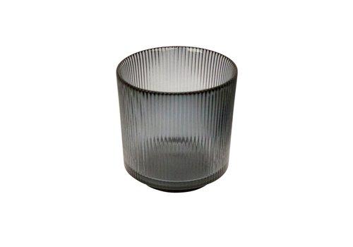 Dome Deco Tealight 'Lines' Grey - S