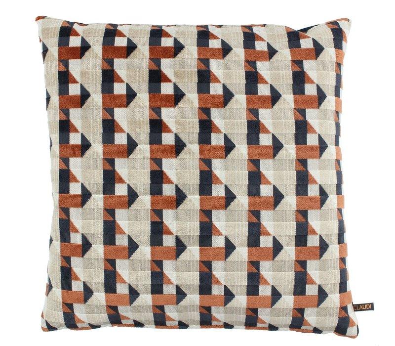 Throw pillow Pippa Brique / Denim